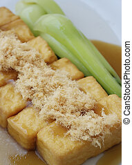 tofu with floss dish - japanese tofu and fish floss dish
