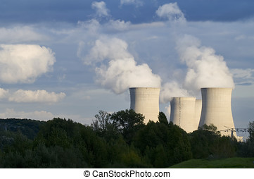 Power Station - Steam coming from cooling towers at a power...