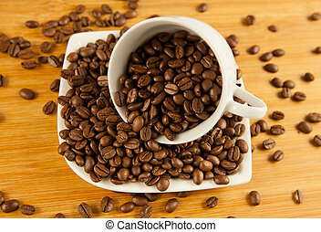 coffee beans. coffee beans in a cup.