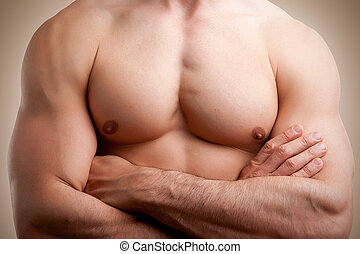 Male Torso - Close up of a muscular male torso, arms crossed
