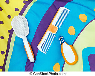 Baby grooming accessories - Brush, comb, nail clippers, set...
