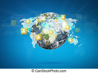 Earth of social network (Elements of this image furnished by...