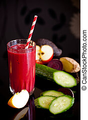 healthy juice made of variety fresh organic fruits and...