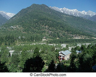 Himalayan village Manali - A beautiful landscape showing a...