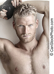 Young sexy male - Highly detailed fashion portrait of a sexy...