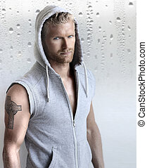 Sexy young male model - Sexy young fit man in hooded...