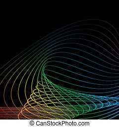 black background mix color line vector art