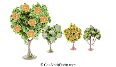 strong dollar - small miniature forest growing copper and...