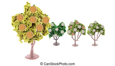 strong Euro exchange - small miniature forest growing copper...