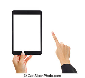Tablet with human finger