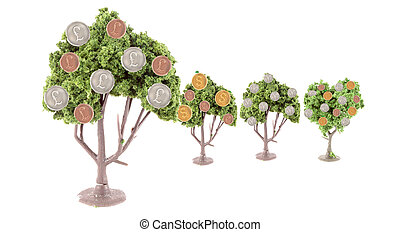 strong British pound exchange - small miniature forest...