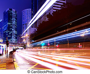 city light trails on traffic road
