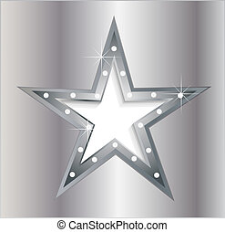 silver star on metal plate with diamond screws EPS10
