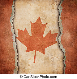 The Maple Leaf flag of Canada on ripped paper