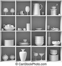 white Dishes & Other Tableware placed on a white shelf