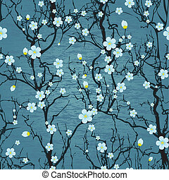 Seamless water background with pattern tree japanese cherry...