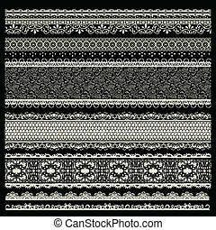 vector set of lace trims isolated on black background.