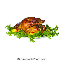 Whole roast stuffed chicken . Isolated. - Plate with whole...
