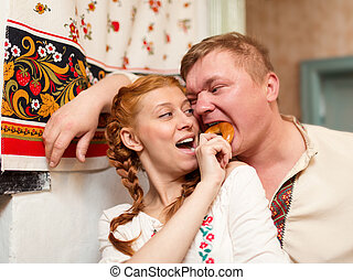 Russian couple in national costume - couple in national...