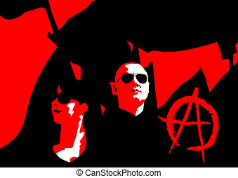 Anarchists - Vector drawing of anarchists with large flags