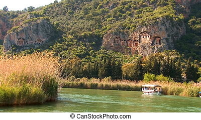 Lycian tombs - sailing on the river along the Lycian tombs