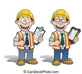 Construction Worker - Project Manager - Cartoon illustration...