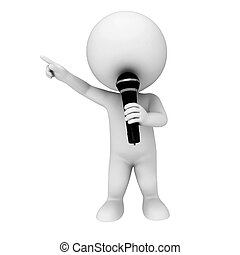 3d white people with mike - 3d rendered illustration of...