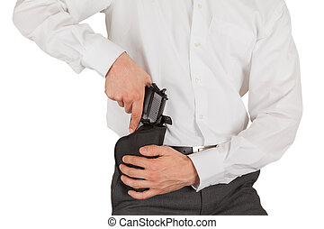 Secret service agent with a gun, isolated on white