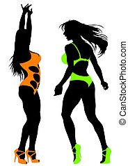 Dancing women in bikinis