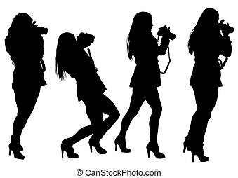 Girl with camera - Vector drawing girls with a camera