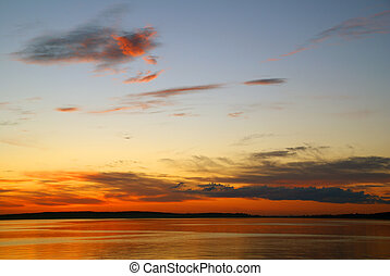 Sunset on a lake - Amazing sunset on a nothern lake in...
