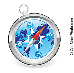 Compass icon with world map