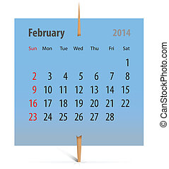 Calendar for February 2014 on a blue sticker attached with...
