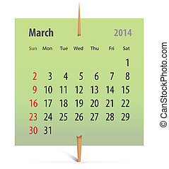 Calendar for March 2014 on a green sticker attached with...
