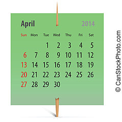 Calendar for April 2014 on a green sticker attached with...