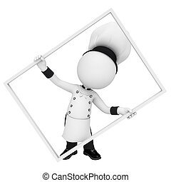 3d white people as chef with frame