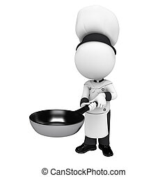3d white people as chef with pan - 3d rendered illustration...