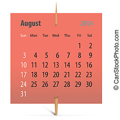 Calendar for August 2014 on a sticker attached with...
