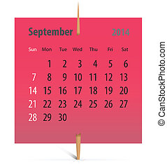 Calendar for September 2014 on a red sticker attached with...