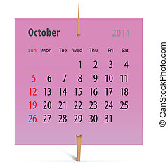 Calendar for October 2014 on a pink sticker attached with...