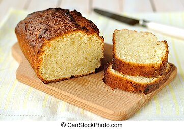 Yogurt and Lemon Loaf Cake - Sliced yogurt and lemon loaf...