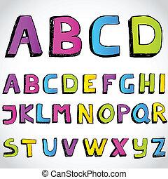 Grunge hand drawn alphabet.