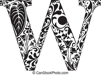Floral W - Floral initial capital letter W