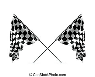 Two crossed checkered flags