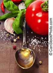 橄欖, 蔬菜, 油, 勺