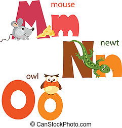 Funny alphabet 5 - Funny alphabet. Letters M, N, O