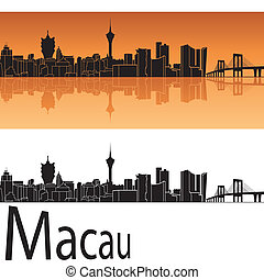 Macau skyline in orange background in editable vector file