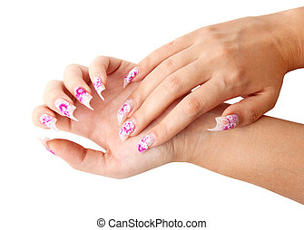 Fingernails - Two hands with beautiful nails unusual shape...