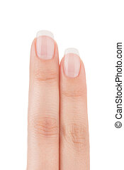 Two womans fingers with french manicure. - Two womans...