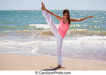 It is all about balance - Beautiful Hispanic woman trying to...
